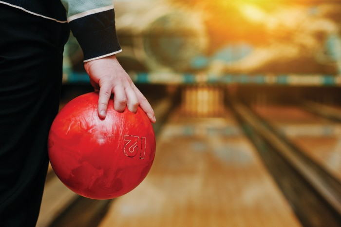 throwing a bowling ball